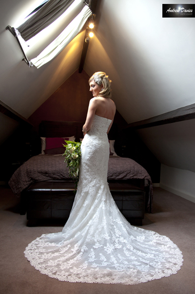 bridal portrait bride lit by ceiling light � www.andrew-davies.com