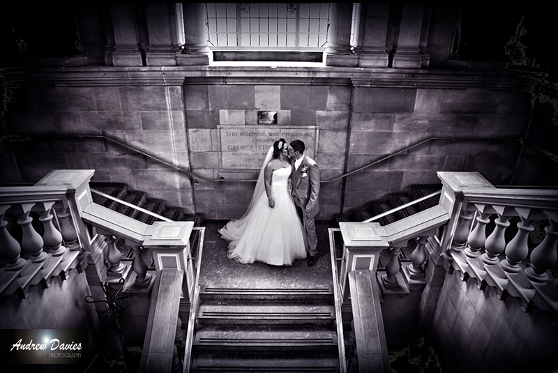 bridal portrait bride and groom on stairway � www.andrew-davies.com