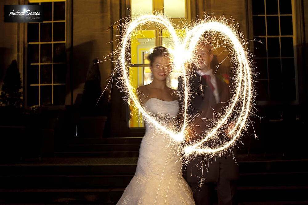 night time low light wedding photo sparklers