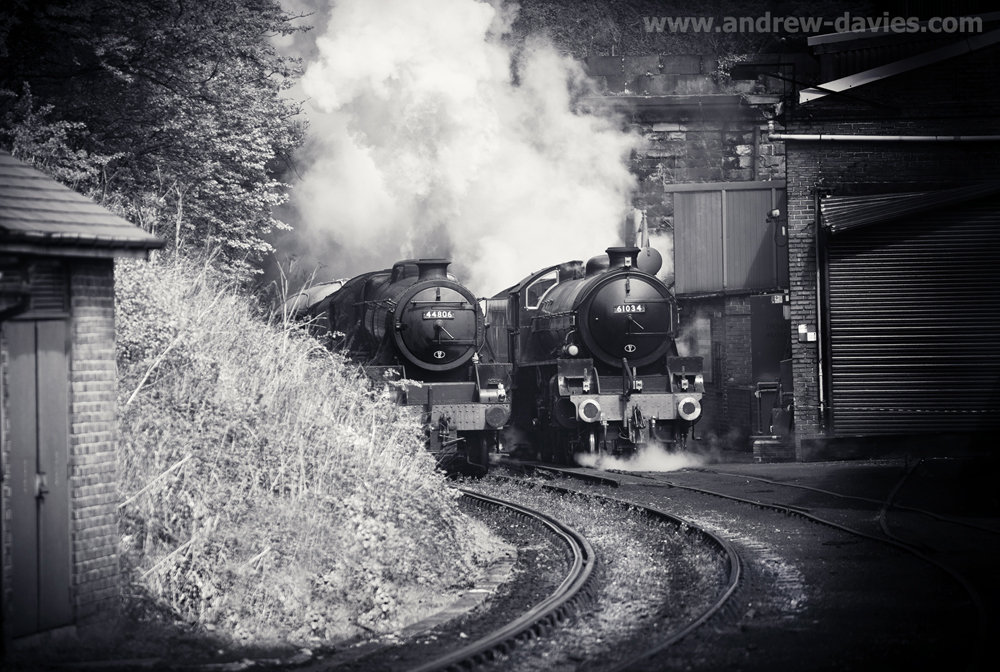steam locomotives 44806 and 61034 at Grosmont