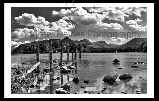 Lake district derwent water black and white
