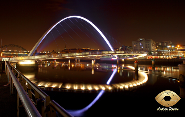 Millenium Bridge and River Tyne Newcastle Gateshead night shot print photo