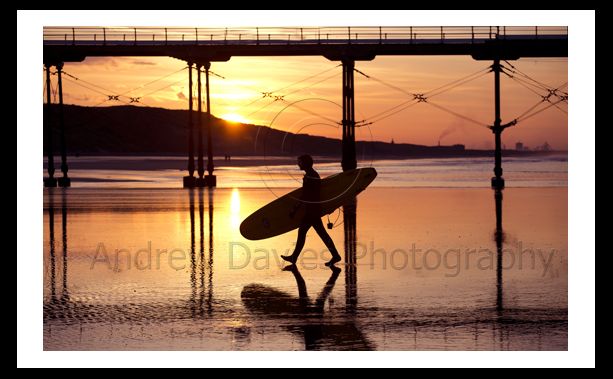 Saltburn Pier Sunset photo print with surfer