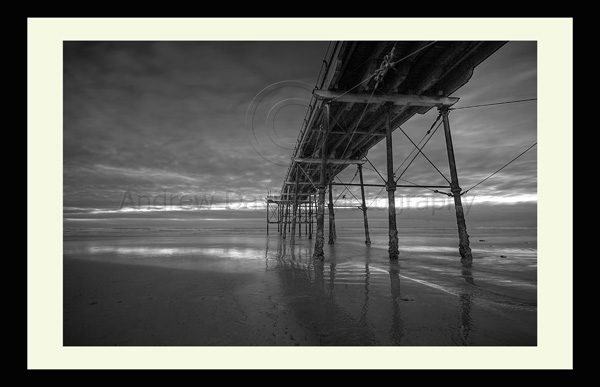 saltburn pier black and white