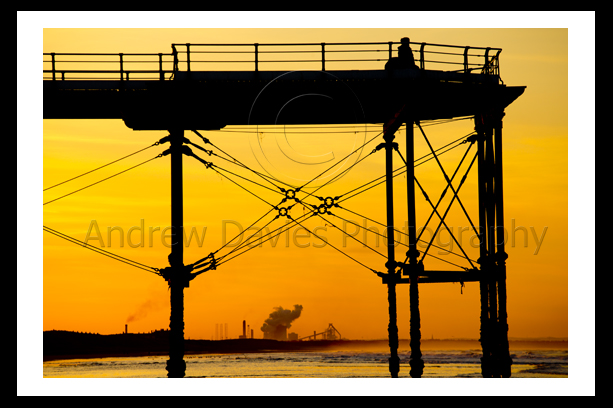 Saltburn Pier Sunset photo print with steel works