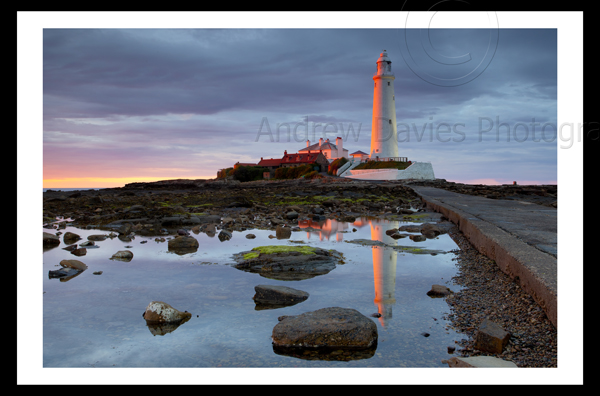 St Marys island and lighthouse whitley bay north east landscape print
