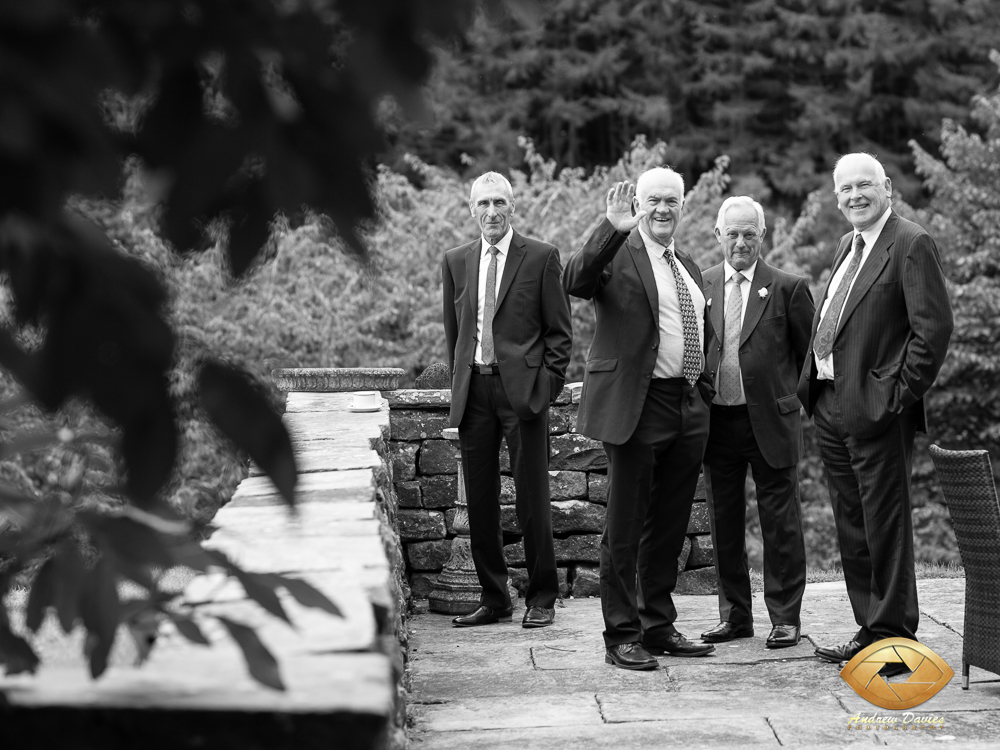 laskill country house wedding photographers photo men on the patio