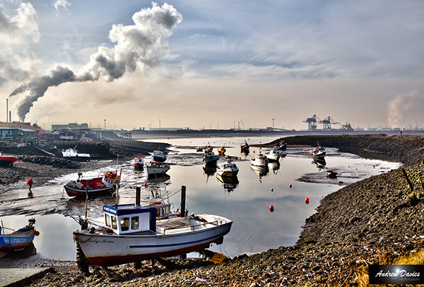 South Gare with boats and Cranes in the background