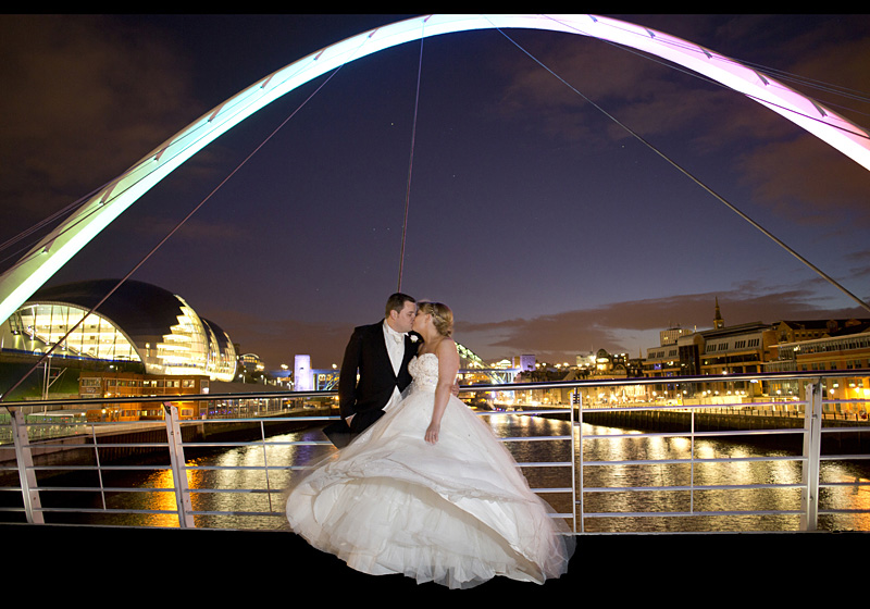 Top Wedding Photographers UK - Millenium Bridge Gateshead Newcastle Bridal Photograph